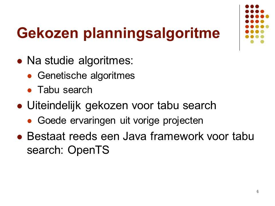 6 Gekozen planningsalgoritme Na studie algoritmes: Genetische algoritmes Tabu search Uiteindelijk gekozen voor tabu search Goede ervaringen uit vorige projecten Bestaat reeds een Java framework voor tabu search: OpenTS