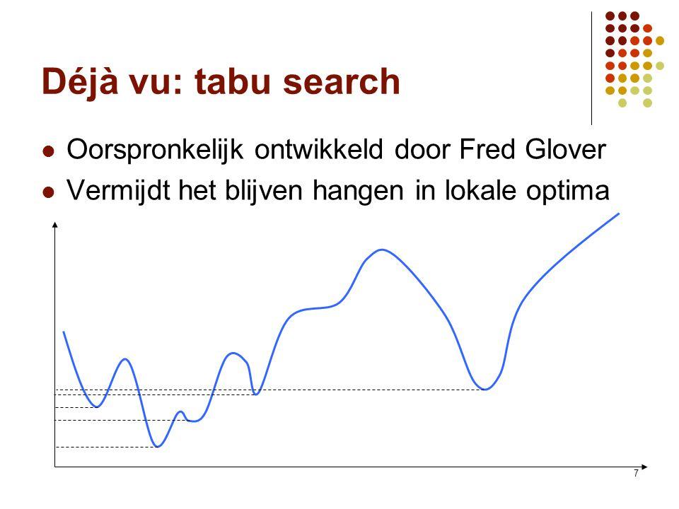 7 Déjà vu: tabu search Oorspronkelijk ontwikkeld door Fred Glover Vermijdt het blijven hangen in lokale optima