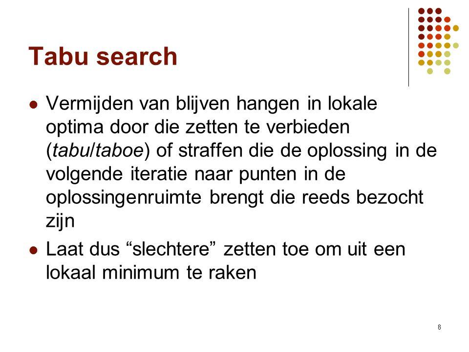 8 Tabu search Vermijden van blijven hangen in lokale optima door die zetten te verbieden (tabu/taboe) of straffen die de oplossing in de volgende iter