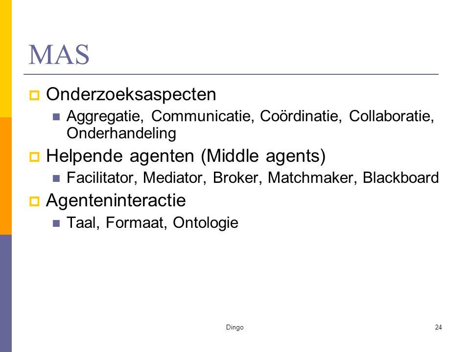 Dingo24 MAS  Onderzoeksaspecten Aggregatie, Communicatie, Coördinatie, Collaboratie, Onderhandeling  Helpende agenten (Middle agents) Facilitator, Mediator, Broker, Matchmaker, Blackboard  Agenteninteractie Taal, Formaat, Ontologie