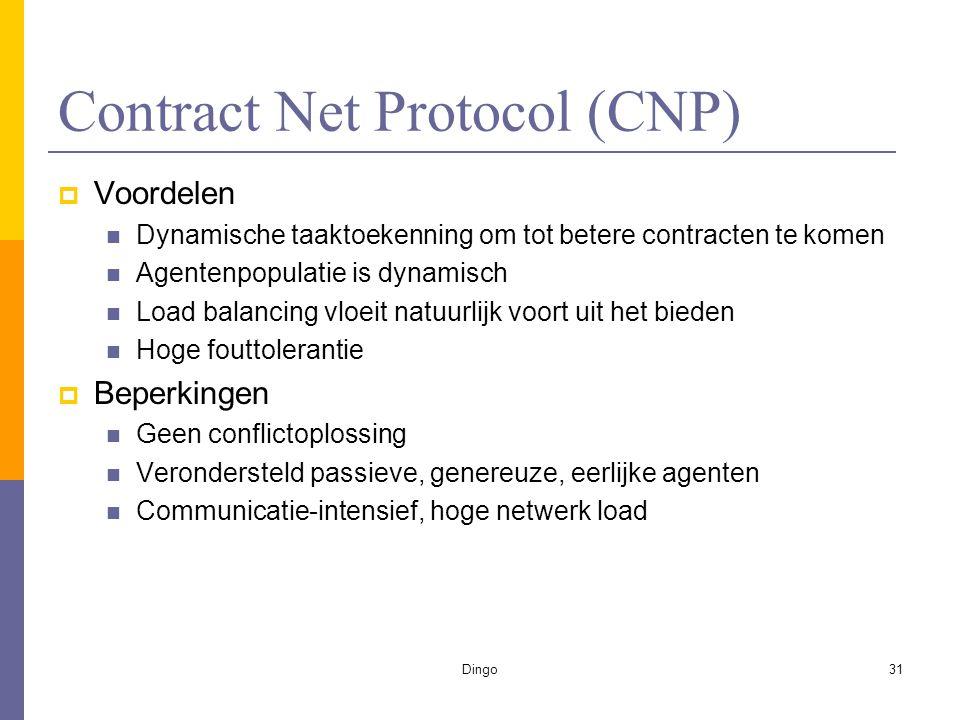 Dingo31 Contract Net Protocol (CNP)  Voordelen Dynamische taaktoekenning om tot betere contracten te komen Agentenpopulatie is dynamisch Load balancing vloeit natuurlijk voort uit het bieden Hoge fouttolerantie  Beperkingen Geen conflictoplossing Verondersteld passieve, genereuze, eerlijke agenten Communicatie-intensief, hoge netwerk load