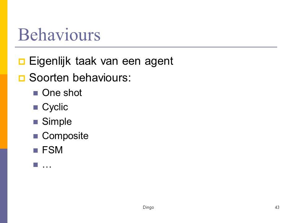 Dingo43 Behaviours  Eigenlijk taak van een agent  Soorten behaviours: One shot Cyclic Simple Composite FSM …