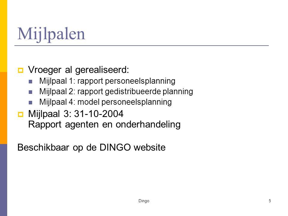 Dingo5 Mijlpalen  Vroeger al gerealiseerd: Mijlpaal 1: rapport personeelsplanning Mijlpaal 2: rapport gedistribueerde planning Mijlpaal 4: model personeelsplanning  Mijlpaal 3: 31-10-2004 Rapport agenten en onderhandeling Beschikbaar op de DINGO website