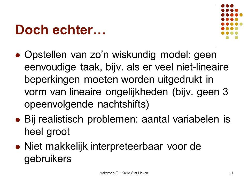 Vakgroep IT - KaHo Sint-Lieven11 Doch echter… Opstellen van zo'n wiskundig model: geen eenvoudige taak, bijv. als er veel niet-lineaire beperkingen mo