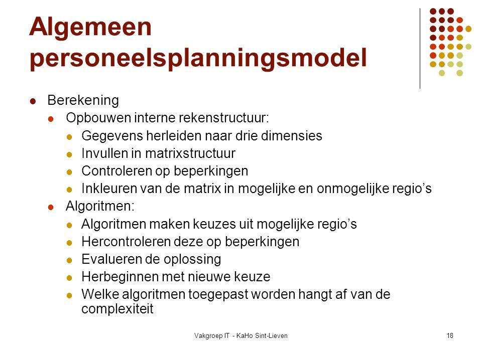 Vakgroep IT - KaHo Sint-Lieven18 Algemeen personeelsplanningsmodel Berekening Opbouwen interne rekenstructuur: Gegevens herleiden naar drie dimensies