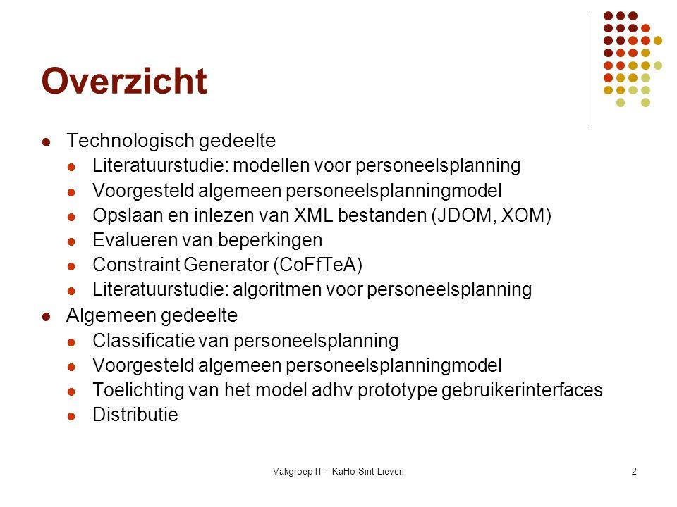 Vakgroep IT - KaHo Sint-Lieven2 Overzicht Technologisch gedeelte Literatuurstudie: modellen voor personeelsplanning Voorgesteld algemeen personeelspla