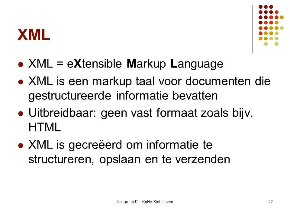Vakgroep IT - KaHo Sint-Lieven22 XML XML = eXtensible Markup Language XML is een markup taal voor documenten die gestructureerde informatie bevatten U