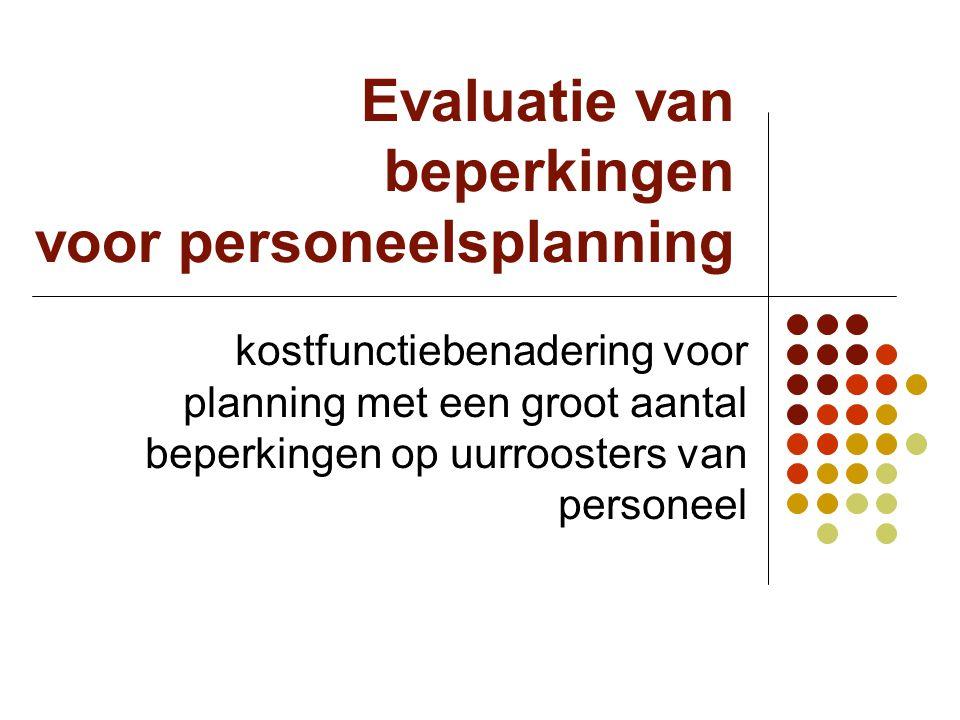 Evaluatie van beperkingen voor personeelsplanning kostfunctiebenadering voor planning met een groot aantal beperkingen op uurroosters van personeel
