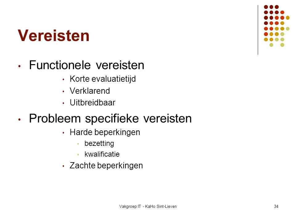 Vakgroep IT - KaHo Sint-Lieven34 Vereisten Functionele vereisten Korte evaluatietijd Verklarend Uitbreidbaar Probleem specifieke vereisten Harde beper