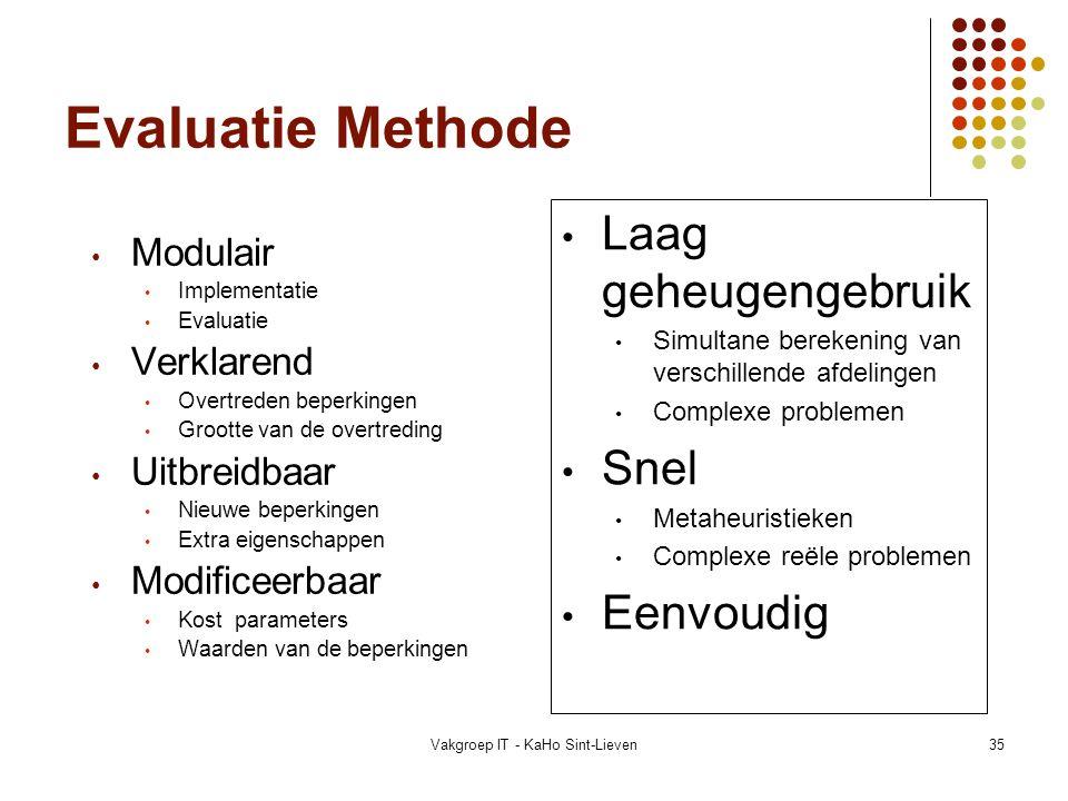 Vakgroep IT - KaHo Sint-Lieven35 Evaluatie Methode Modulair Implementatie Evaluatie Verklarend Overtreden beperkingen Grootte van de overtreding Uitbr