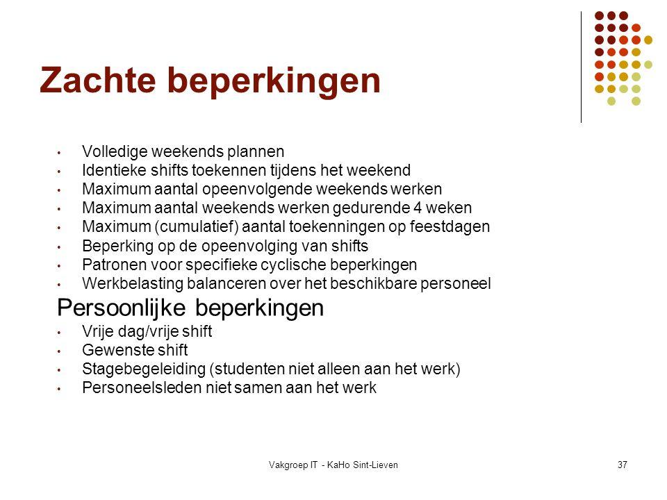 Vakgroep IT - KaHo Sint-Lieven37 Zachte beperkingen Volledige weekends plannen Identieke shifts toekennen tijdens het weekend Maximum aantal opeenvolg