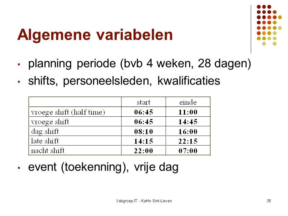 Vakgroep IT - KaHo Sint-Lieven38 Algemene variabelen planning periode (bvb 4 weken, 28 dagen) shifts, personeelsleden, kwalificaties event (toekenning
