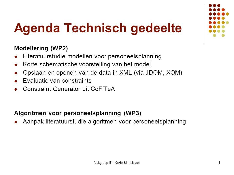 Vakgroep IT - KaHo Sint-Lieven15 Algemeen personeelsplanningsmodel Invoer Gegevens: Opslaan en lezen via XML Beperkingen: Constraint Generator (CoFfTeA) Berekening Opbouwen interne rekenstructuur:  Gegevens in 3d-matrix en controleren op beperkingen algoritmen:  Welke algoritmen gebruikt worden hangt af van de complexiteit Uitvoer Weergave en bewerking van gekozen oplossing  Concrete informatie betreft personeel, tijd en taken
