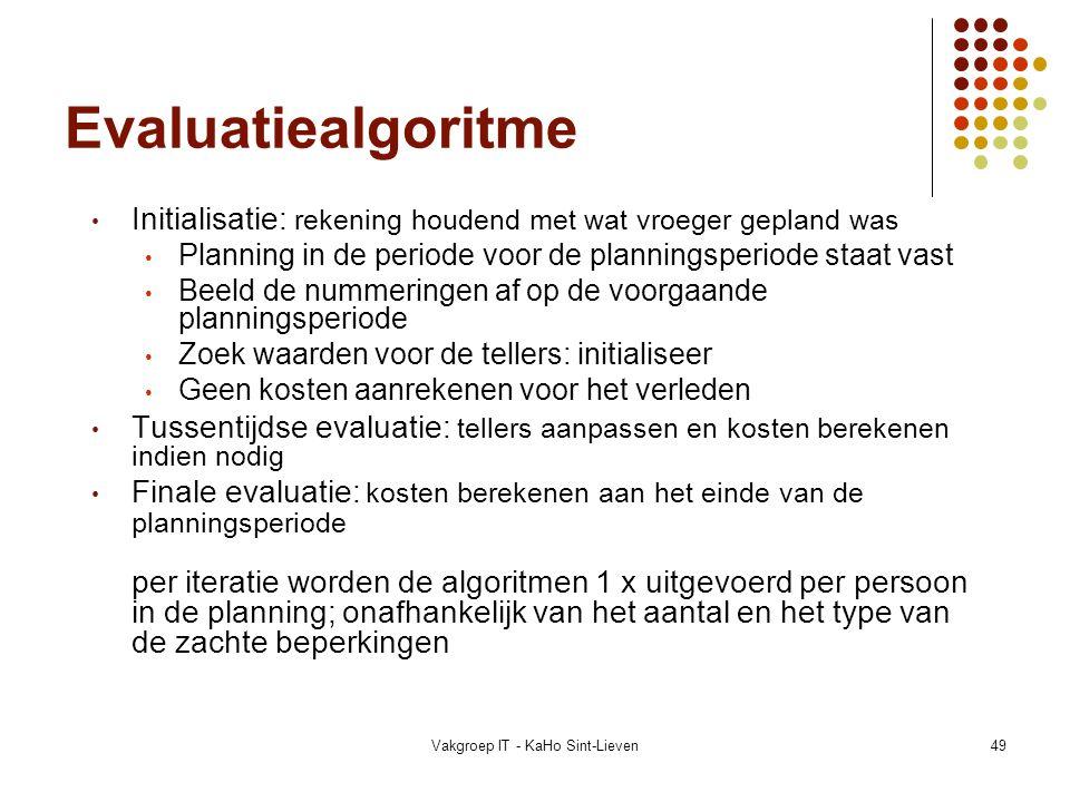 Vakgroep IT - KaHo Sint-Lieven49 Evaluatiealgoritme Initialisatie: rekening houdend met wat vroeger gepland was Planning in de periode voor de plannin