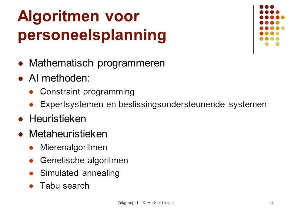 Vakgroep IT - KaHo Sint-Lieven54 Algoritmen voor personeelsplanning Mathematisch programmeren AI methoden: Constraint programming Expertsystemen en be