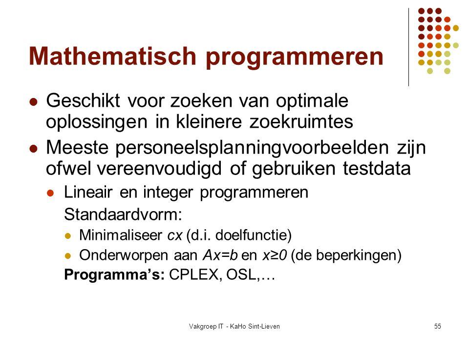 Vakgroep IT - KaHo Sint-Lieven55 Mathematisch programmeren Geschikt voor zoeken van optimale oplossingen in kleinere zoekruimtes Meeste personeelsplan