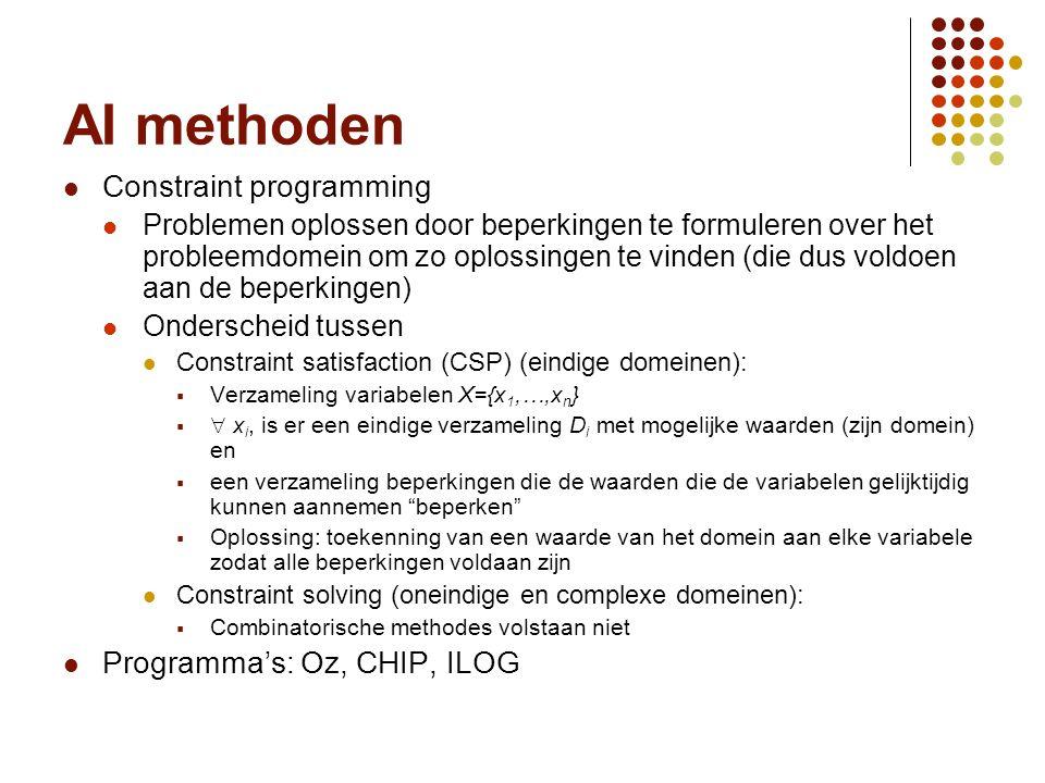Vakgroep IT - KaHo Sint-Lieven57 AI methoden Constraint programming Problemen oplossen door beperkingen te formuleren over het probleemdomein om zo op