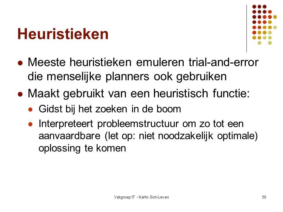 Vakgroep IT - KaHo Sint-Lieven59 Heuristieken Meeste heuristieken emuleren trial-and-error die menselijke planners ook gebruiken Maakt gebruikt van ee