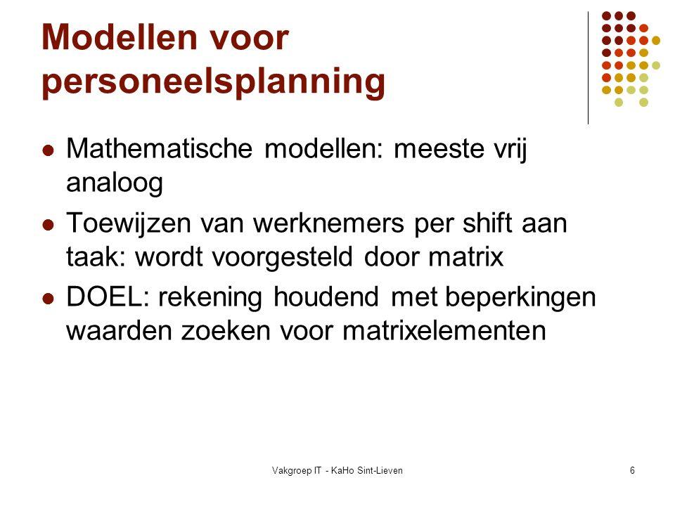 Vakgroep IT - KaHo Sint-Lieven7 Voorbeeld van een wiskundig model Algemeen model voor ETP van Meisels en Schaerf (vaste begin- en einduren) m werknemers E 1,…,E m n shifts S 1,…,S n t taken T 1,…,T t Doel: vinden van een 3-dim.