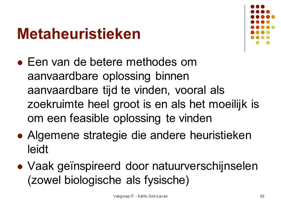 Vakgroep IT - KaHo Sint-Lieven60 Metaheuristieken Een van de betere methodes om aanvaardbare oplossing binnen aanvaardbare tijd te vinden, vooral als