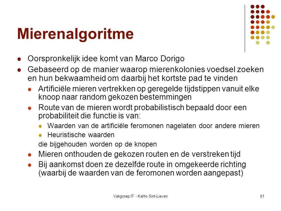 Vakgroep IT - KaHo Sint-Lieven61 Mierenalgoritme Oorspronkelijk idee komt van Marco Dorigo Gebaseerd op de manier waarop mierenkolonies voedsel zoeken