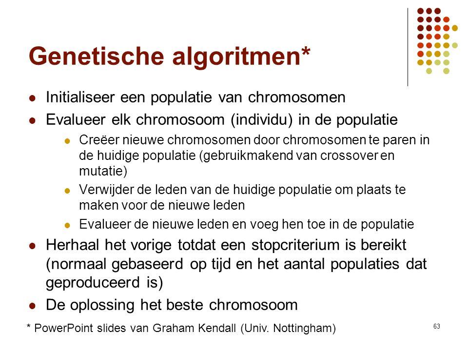Vakgroep IT - KaHo Sint-Lieven63 Genetische algoritmen* Initialiseer een populatie van chromosomen Evalueer elk chromosoom (individu) in de populatie