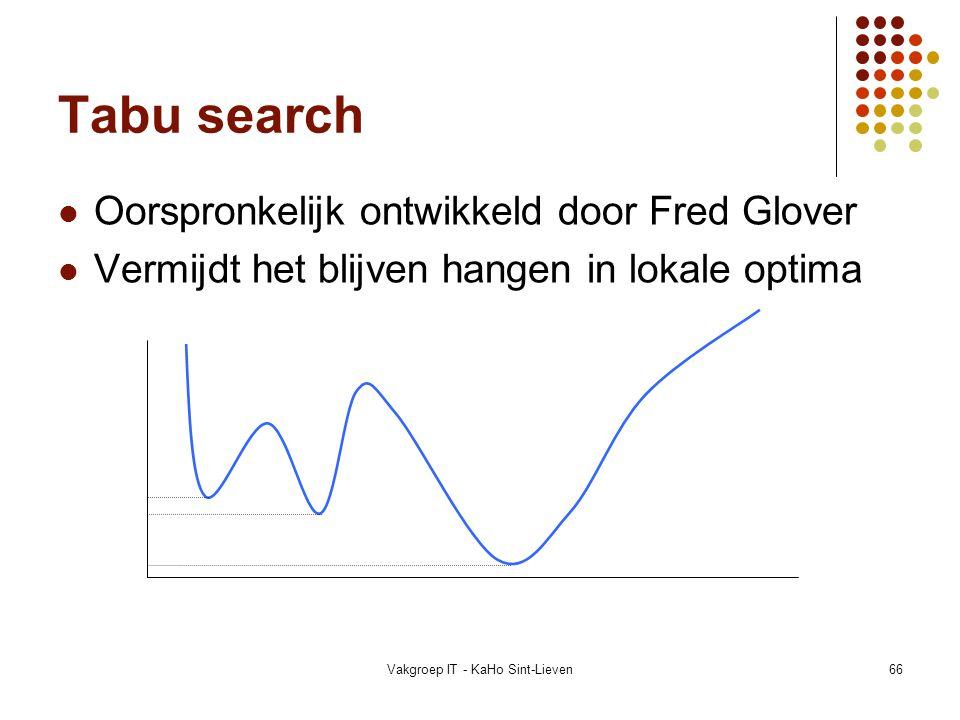 Vakgroep IT - KaHo Sint-Lieven66 Tabu search Oorspronkelijk ontwikkeld door Fred Glover Vermijdt het blijven hangen in lokale optima