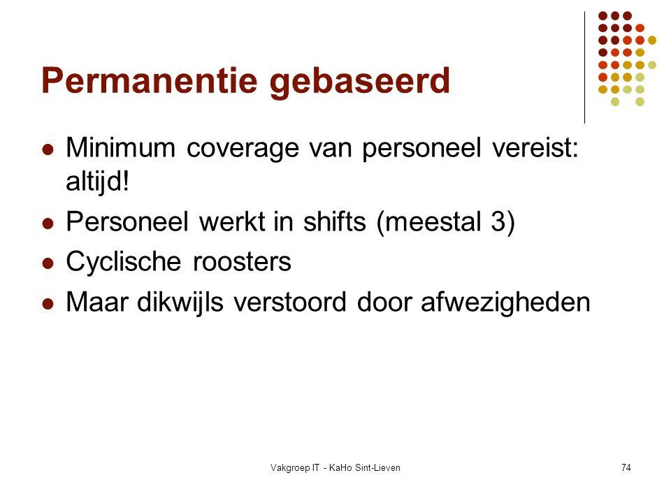 Vakgroep IT - KaHo Sint-Lieven74 Permanentie gebaseerd Minimum coverage van personeel vereist: altijd! Personeel werkt in shifts (meestal 3) Cyclische