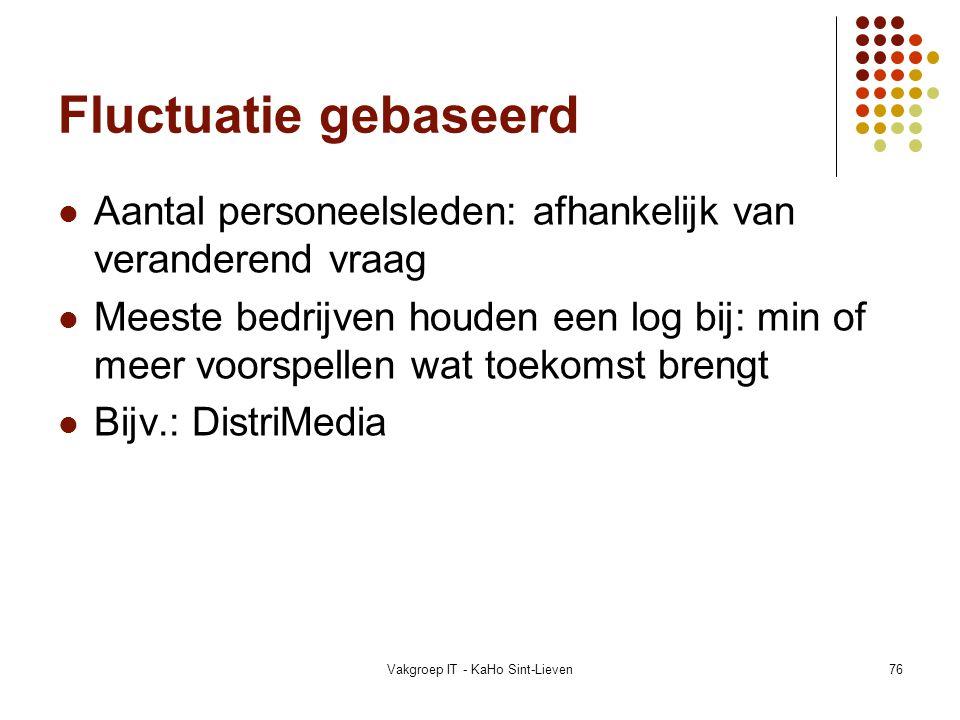 Vakgroep IT - KaHo Sint-Lieven76 Fluctuatie gebaseerd Aantal personeelsleden: afhankelijk van veranderend vraag Meeste bedrijven houden een log bij: m