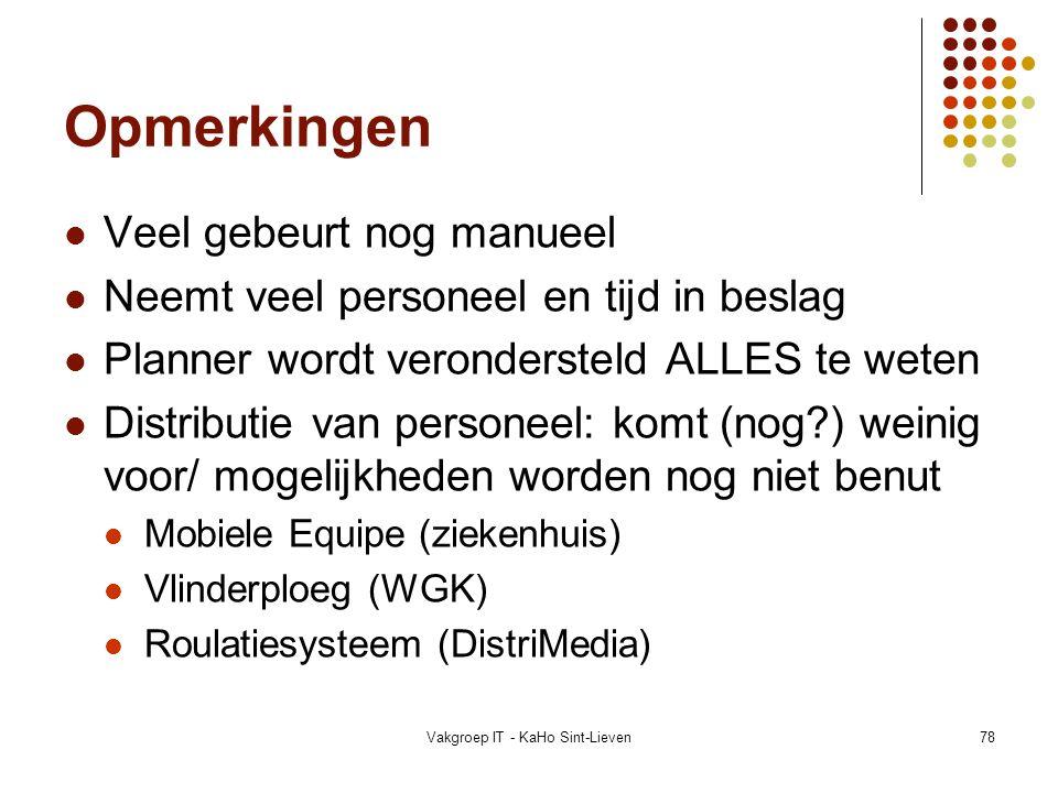 Vakgroep IT - KaHo Sint-Lieven78 Opmerkingen Veel gebeurt nog manueel Neemt veel personeel en tijd in beslag Planner wordt verondersteld ALLES te wete