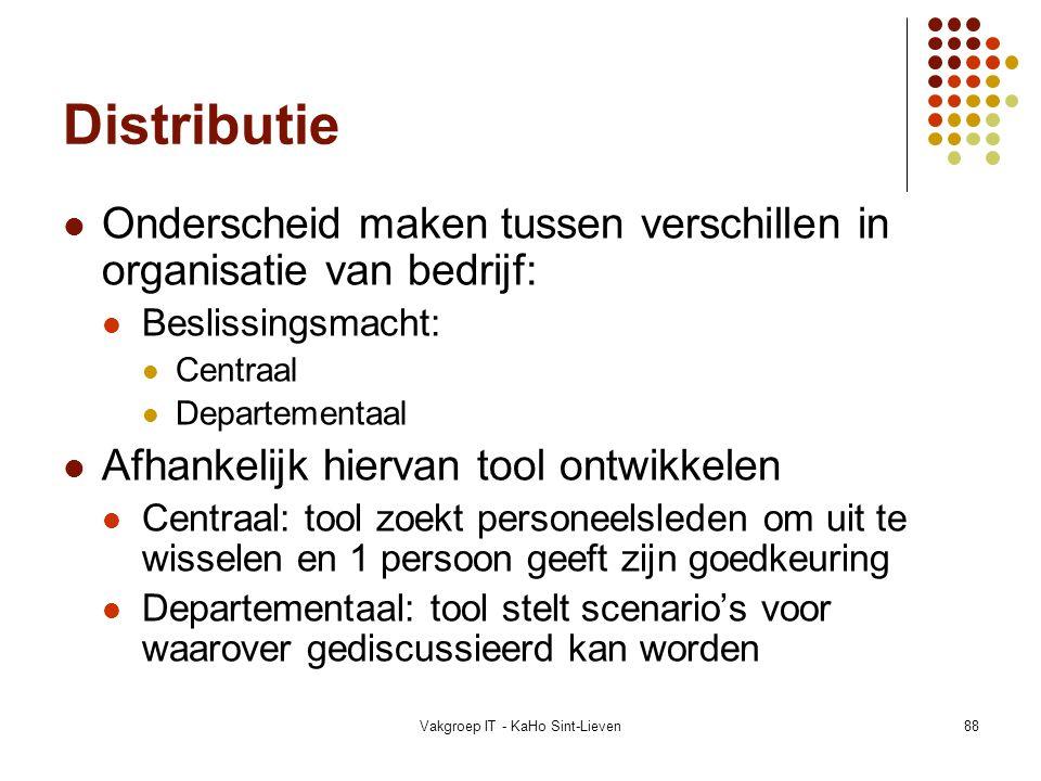 Vakgroep IT - KaHo Sint-Lieven88 Distributie Onderscheid maken tussen verschillen in organisatie van bedrijf: Beslissingsmacht: Centraal Departementaa