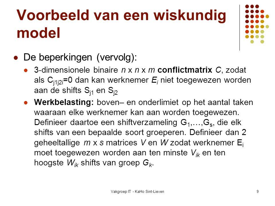 Vakgroep IT - KaHo Sint-Lieven10 Voorbeeld van een wiskundig model Wiskundig geformuleerd: Vind x ijk zodat: