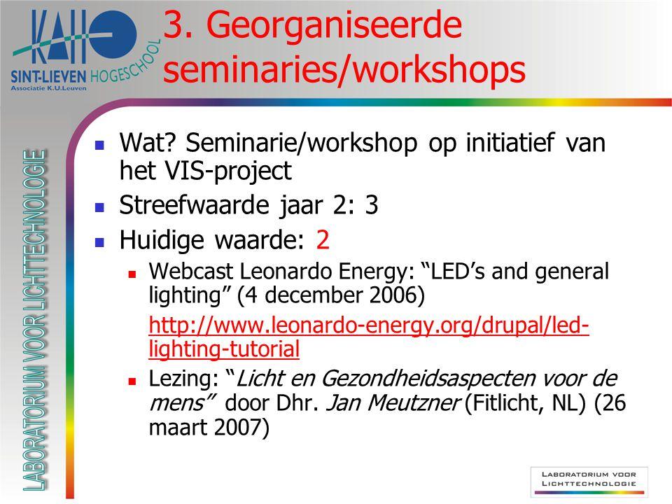 3. Georganiseerde seminaries/workshops Wat? Seminarie/workshop op initiatief van het VIS-project Streefwaarde jaar 2: 3 Huidige waarde: 2 Webcast Leon