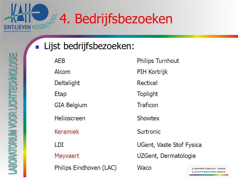 4. Bedrijfsbezoeken Lijst bedrijfsbezoeken: AEBPhilips Turnhout AlcomPIH Kortrijk DeltalightRecticel EtapToplight GIA BelgiumTraficon HelioscreenShowt