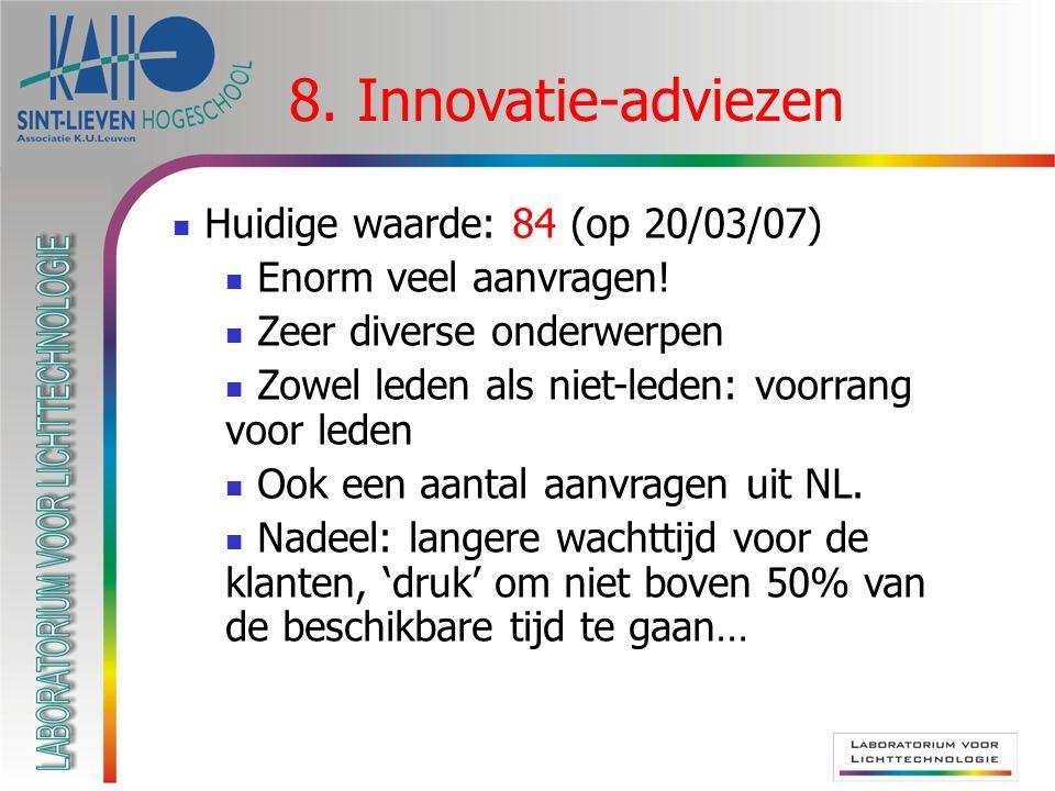 8. Innovatie-adviezen Huidige waarde: 84 (op 20/03/07) Enorm veel aanvragen! Zeer diverse onderwerpen Zowel leden als niet-leden: voorrang voor leden