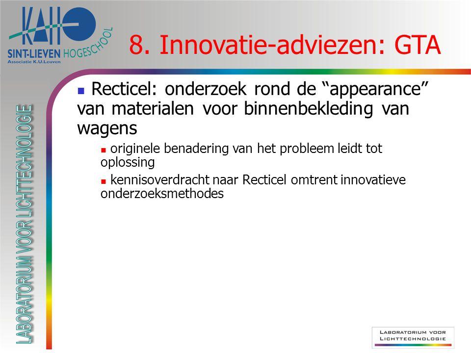 """8. Innovatie-adviezen: GTA Recticel: onderzoek rond de """"appearance"""" van materialen voor binnenbekleding van wagens originele benadering van het proble"""