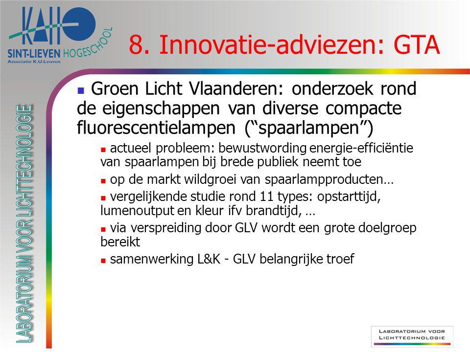 """8. Innovatie-adviezen: GTA Groen Licht Vlaanderen: onderzoek rond de eigenschappen van diverse compacte fluorescentielampen (""""spaarlampen"""") actueel pr"""