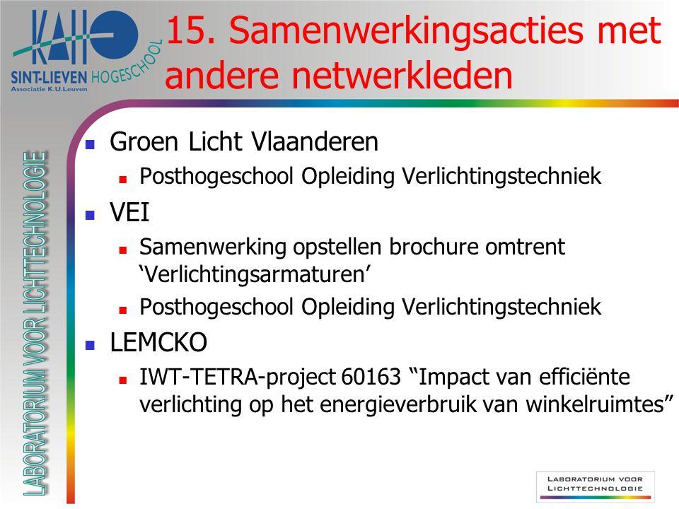 Groen Licht Vlaanderen Posthogeschool Opleiding Verlichtingstechniek VEI Samenwerking opstellen brochure omtrent 'Verlichtingsarmaturen' Posthogeschoo