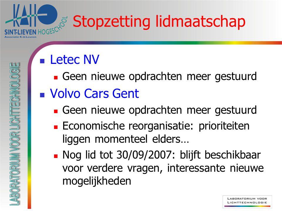 Stopzetting lidmaatschap Letec NV Geen nieuwe opdrachten meer gestuurd Volvo Cars Gent Geen nieuwe opdrachten meer gestuurd Economische reorganisatie: