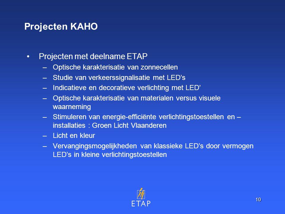 10 Projecten KAHO Projecten met deelname ETAP –Optische karakterisatie van zonnecellen –Studie van verkeerssignalisatie met LED's –Indicatieve en decoratieve verlichting met LED' –Optische karakterisatie van materialen versus visuele waarneming –Stimuleren van energie-efficiënte verlichtingstoestellen en – installaties : Groen Licht Vlaanderen –Licht en kleur –Vervangingsmogelijkheden van klassieke LED's door vermogen LED's in kleine verlichtingstoestellen