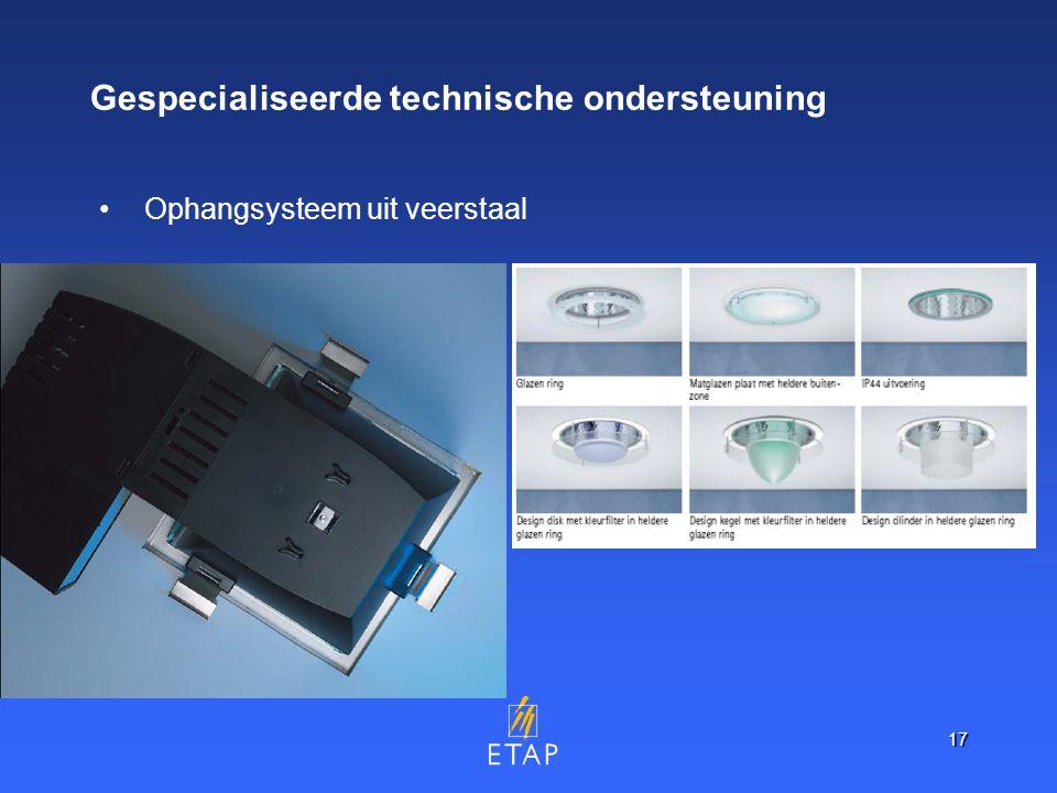 17 Gespecialiseerde technische ondersteuning Ophangsysteem uit veerstaal