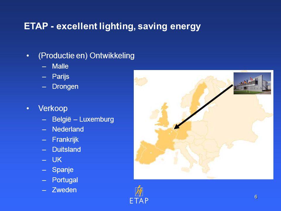 6 ETAP - excellent lighting, saving energy (Productie en) Ontwikkeling –Malle –Parijs –Drongen Verkoop –België – Luxemburg –Nederland –Frankrijk –Duitsland –UK –Spanje –Portugal –Zweden