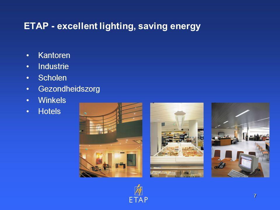 7 ETAP - excellent lighting, saving energy Kantoren Industrie Scholen Gezondheidszorg Winkels Hotels