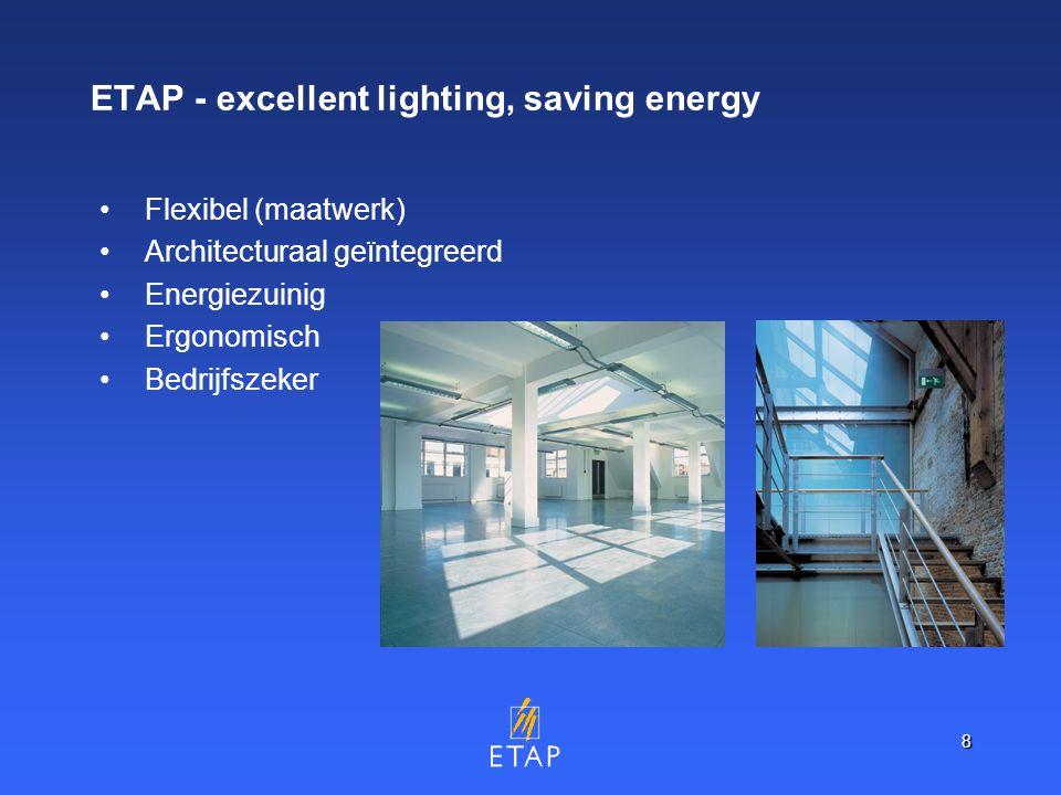8 ETAP - excellent lighting, saving energy Flexibel (maatwerk) Architecturaal geïntegreerd Energiezuinig Ergonomisch Bedrijfszeker