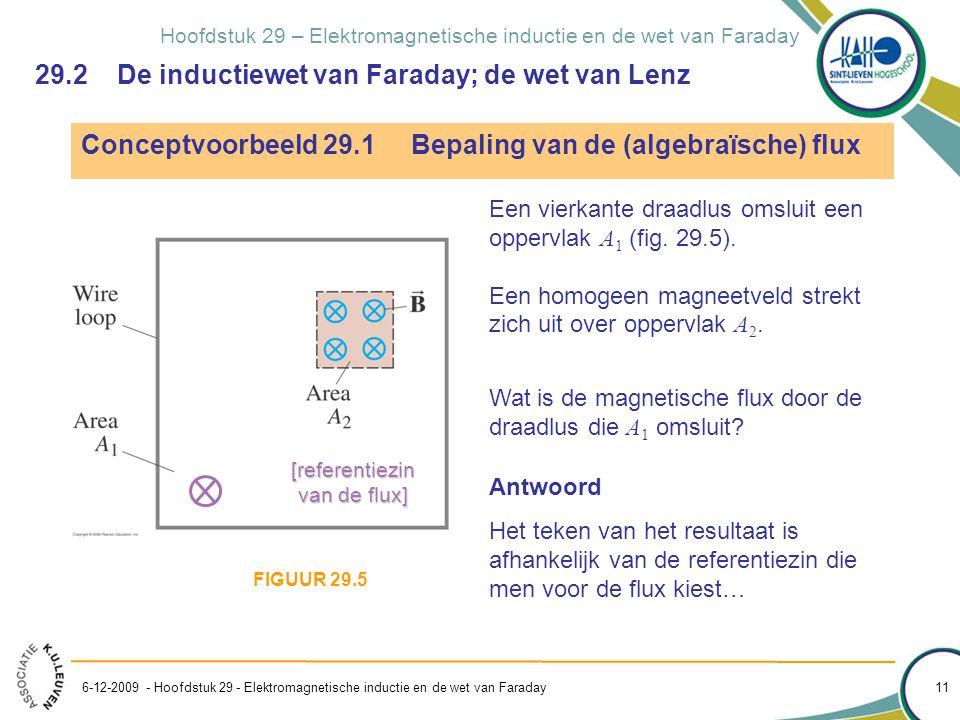 Hoofdstuk 29 – Elektromagnetische inductie en de wet van Faraday 6-12-2009 - Hoofdstuk 29 - Elektromagnetische inductie en de wet van Faraday 11 Conce