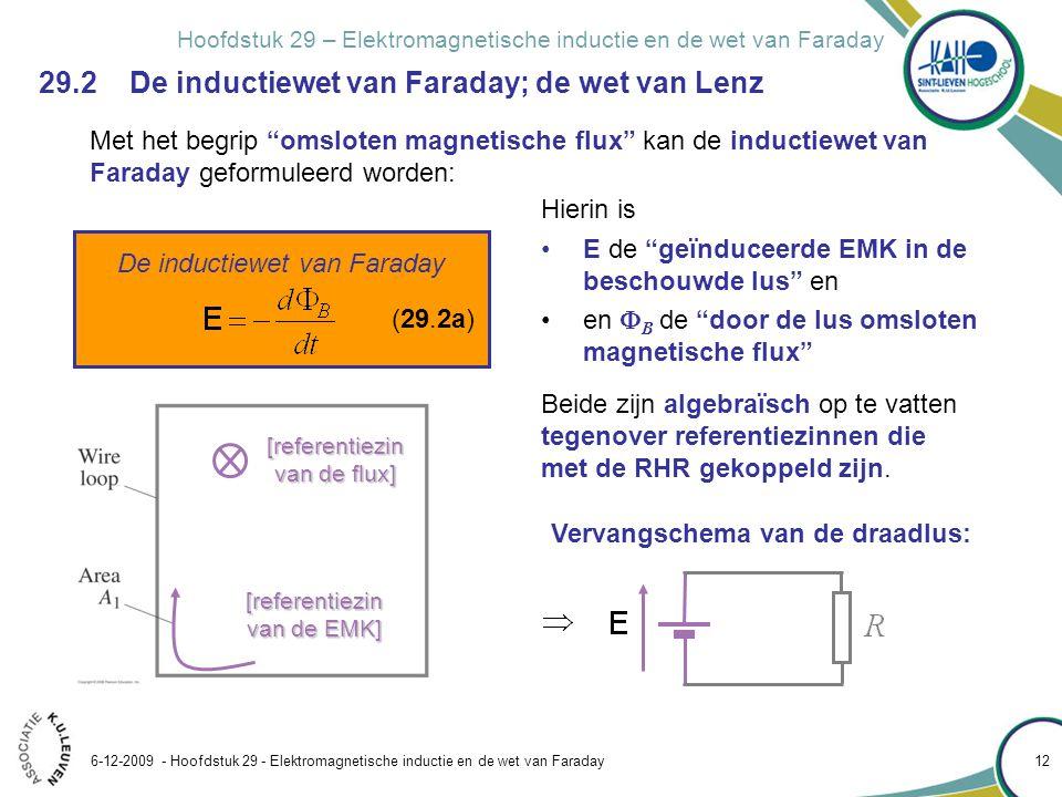 Hoofdstuk 29 – Elektromagnetische inductie en de wet van Faraday 6-12-2009 - Hoofdstuk 29 - Elektromagnetische inductie en de wet van Faraday 12 Met h