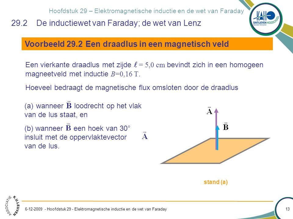 Hoofdstuk 29 – Elektromagnetische inductie en de wet van Faraday 6-12-2009 - Hoofdstuk 29 - Elektromagnetische inductie en de wet van Faraday 13 29.2