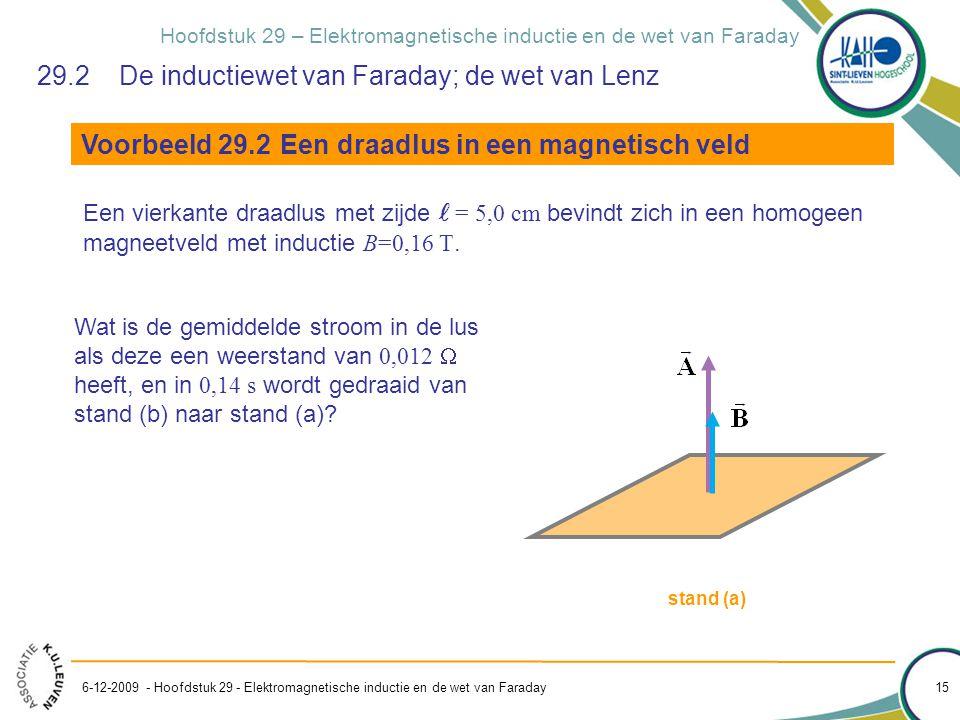 Hoofdstuk 29 – Elektromagnetische inductie en de wet van Faraday 6-12-2009 - Hoofdstuk 29 - Elektromagnetische inductie en de wet van Faraday 15 29.2