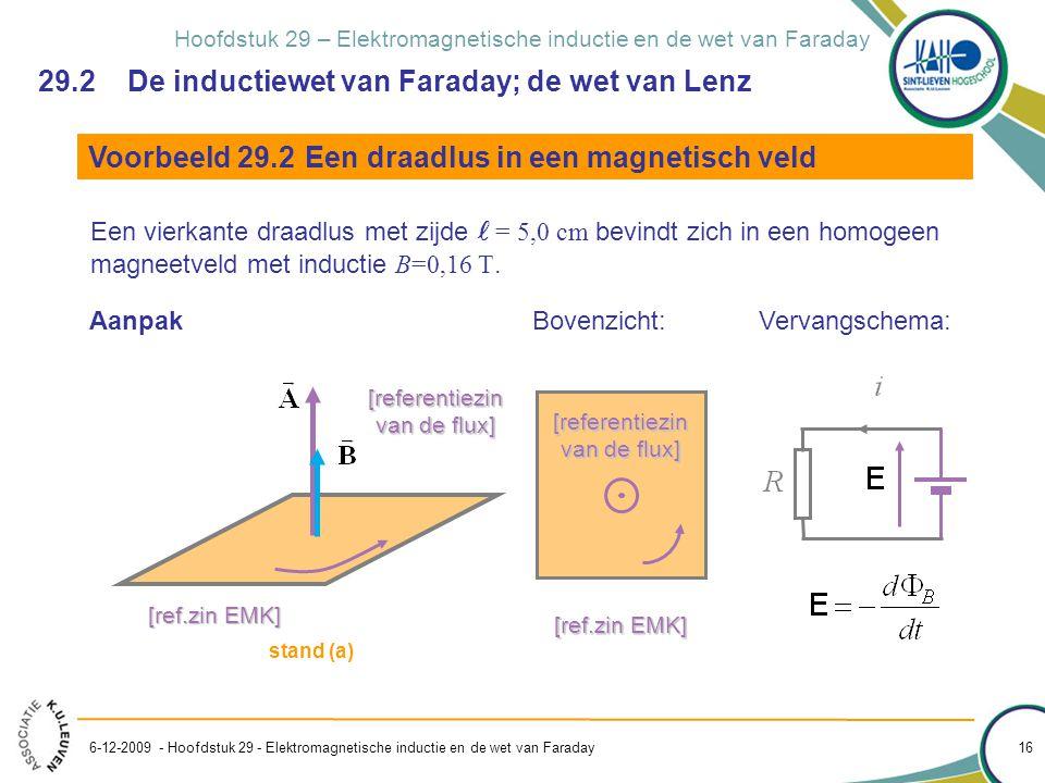 Hoofdstuk 29 – Elektromagnetische inductie en de wet van Faraday 6-12-2009 - Hoofdstuk 29 - Elektromagnetische inductie en de wet van Faraday 16 Voorb