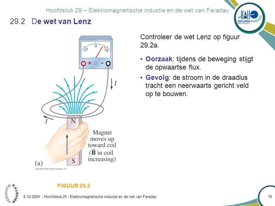Hoofdstuk 29 – Elektromagnetische inductie en de wet van Faraday 6-12-2009 - Hoofdstuk 29 - Elektromagnetische inductie en de wet van Faraday 19 29.2
